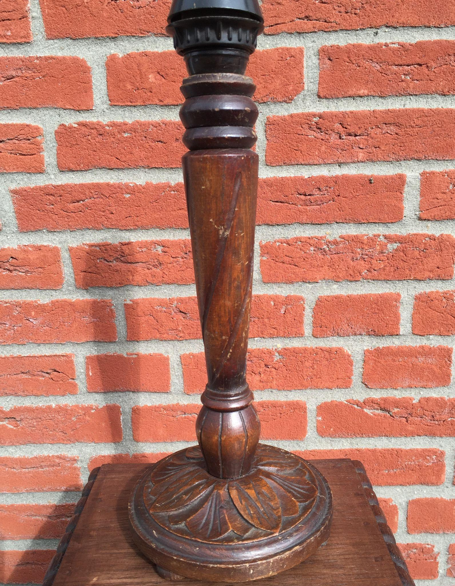 1920 Carved Oak Wood Table Desk Lamp From