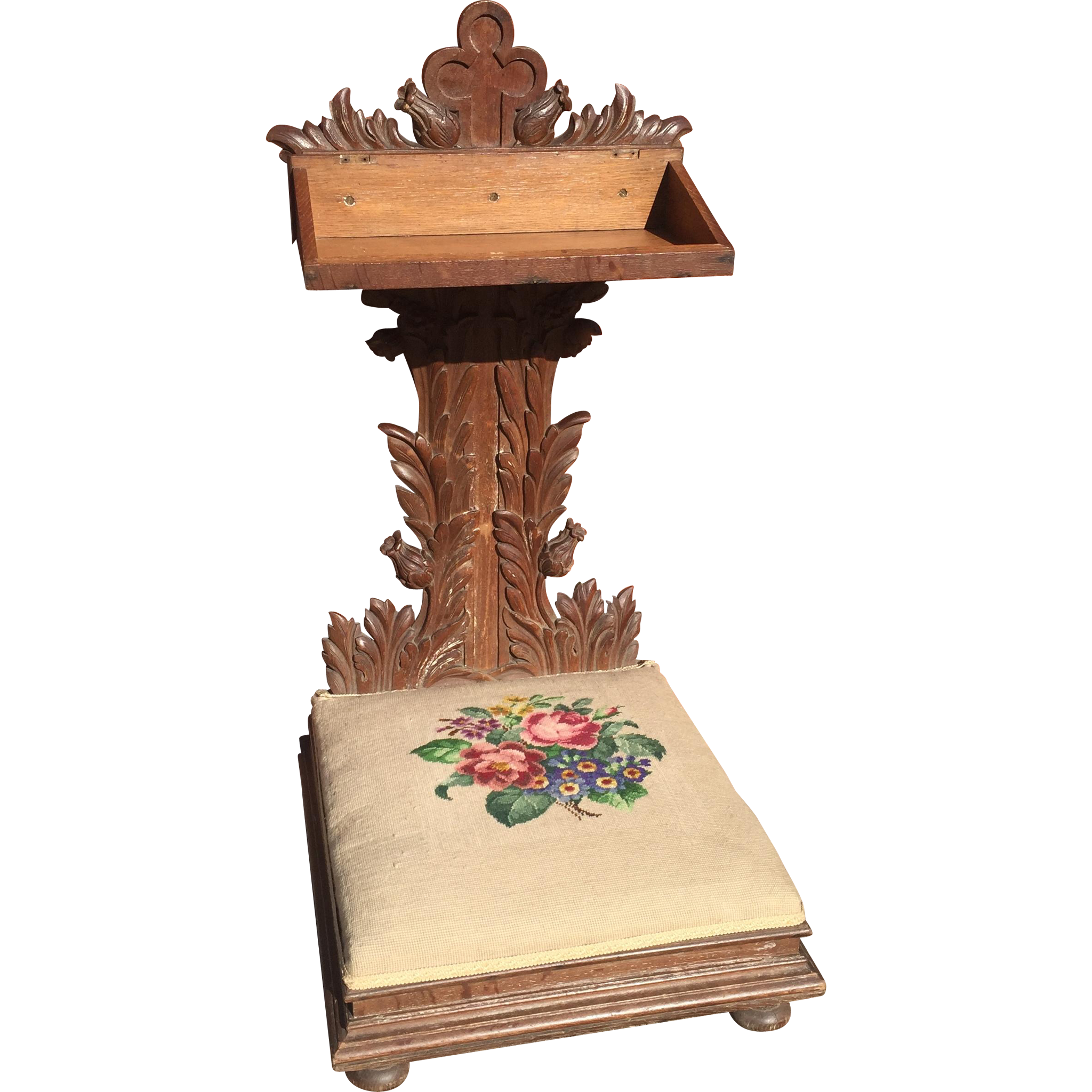 Prayer Chair Religious Gothic Church Kneeler Antique Oak