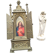 Antique Bronze Gothic Picture Frame - Chapel w Porcelain Jesus Hand-Painted