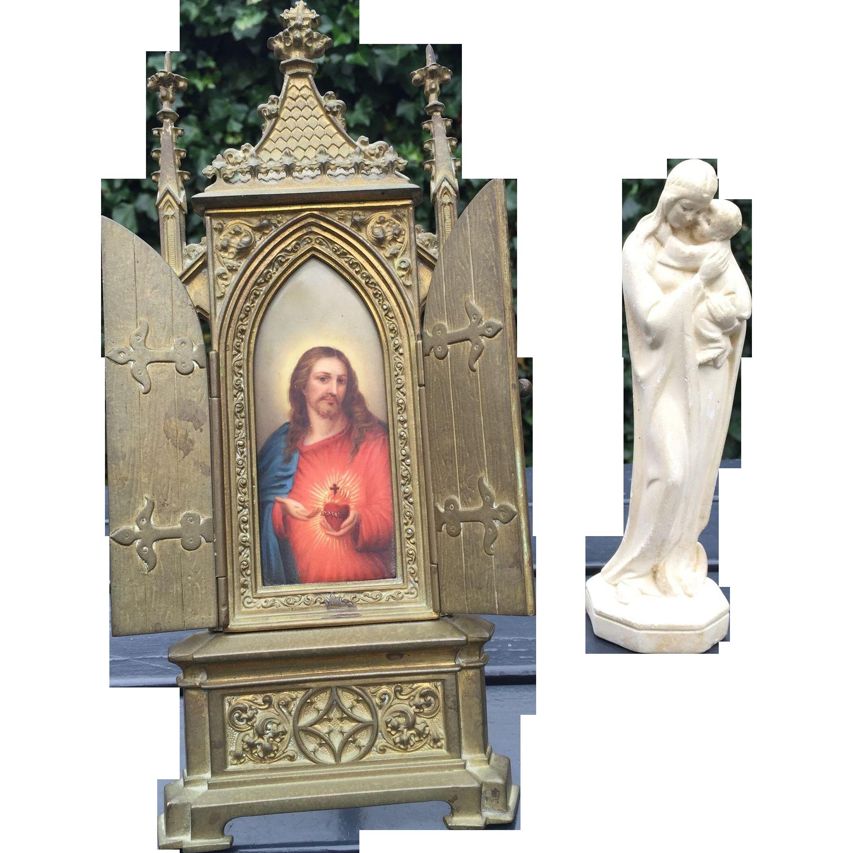 Antique Bronze Gothic Picture Frame - Chapel w Porcelain Jesus Hand-Painted