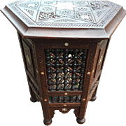 Antique Carved Wood Moorish Table - Stand with Mother of Pearl