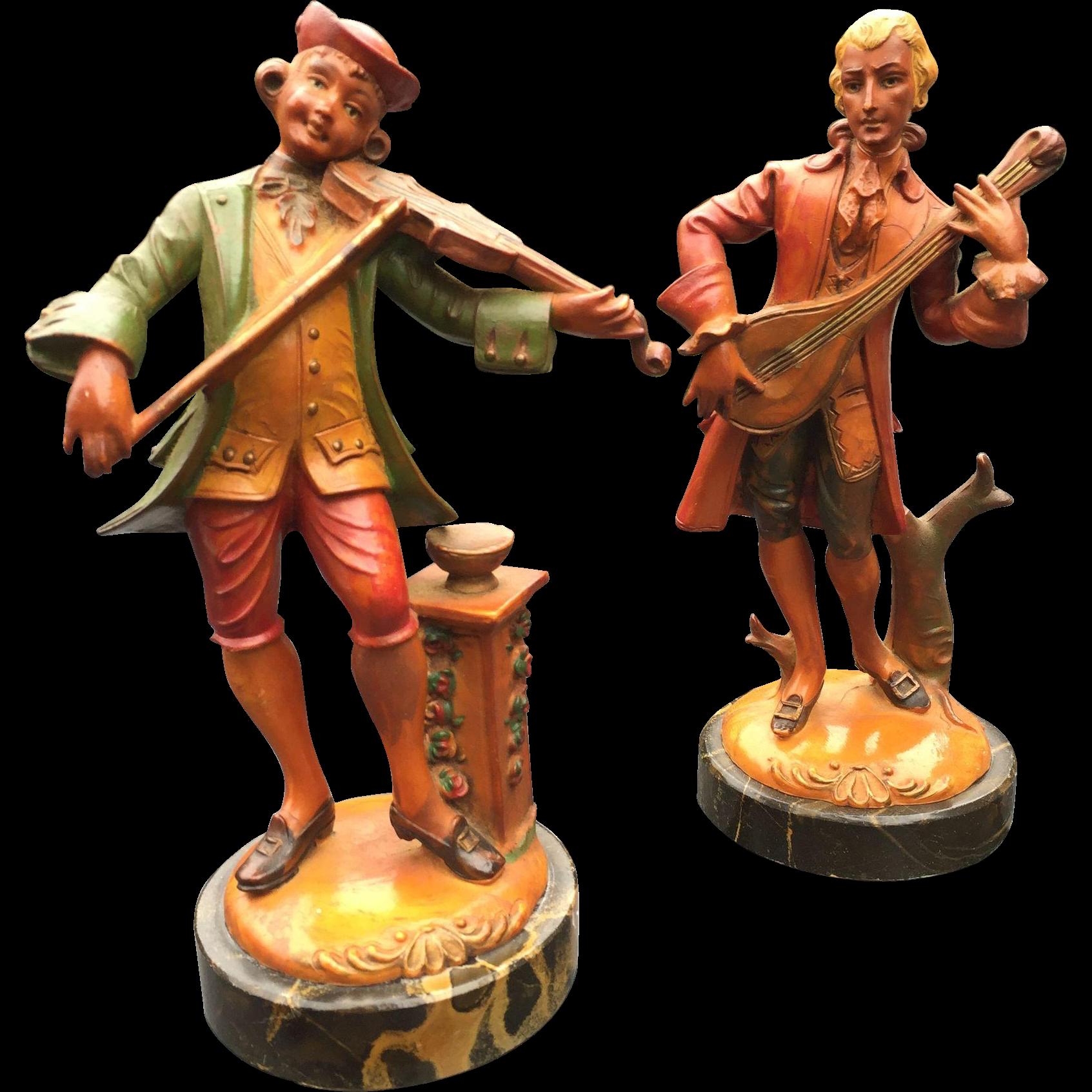 Pair Musician Statue - Sculpture, Violinist