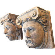 Early - 17th Century Pair Hand Carved Solid Oak Head Wall Brackets