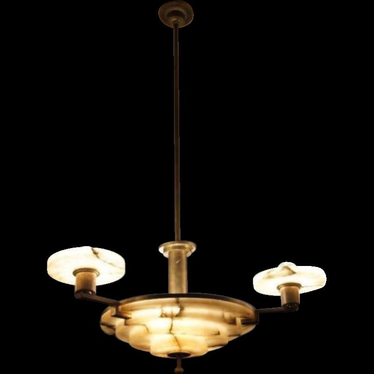 1920/30 French Art Deco Alabaster - Brass Chandelier