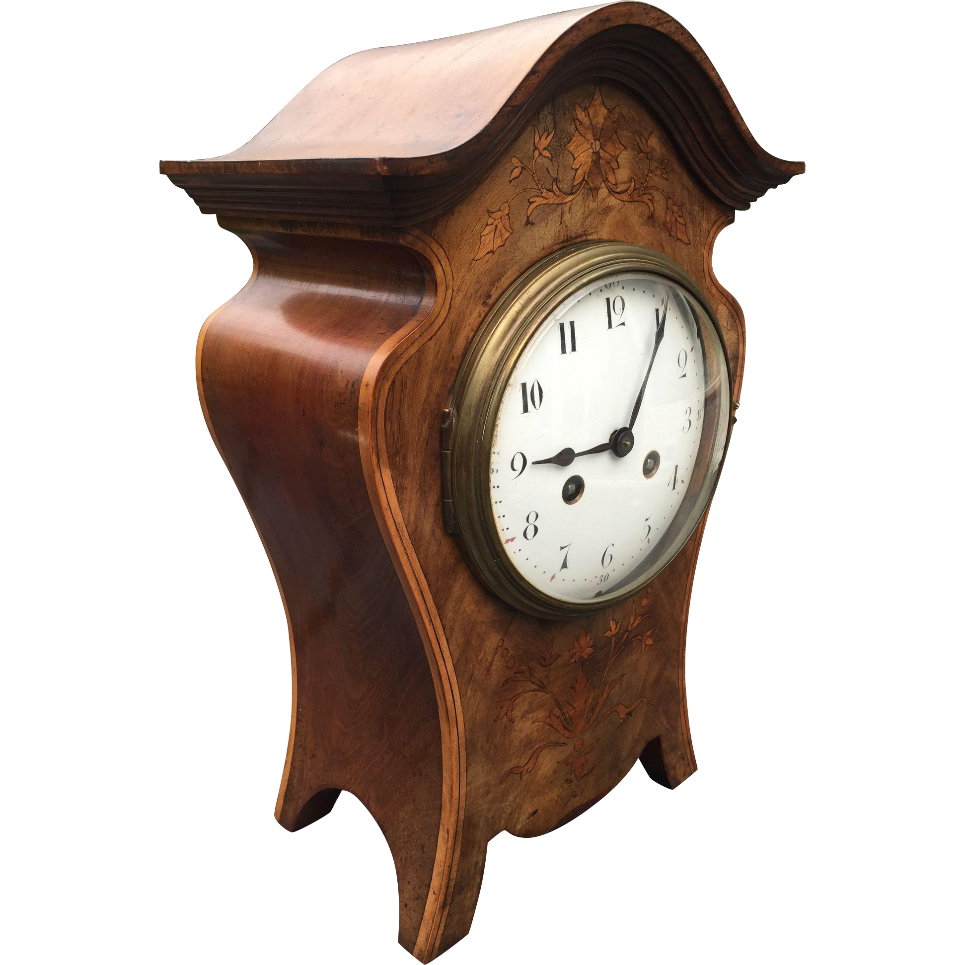Art Nouveau Walnut Mantel - Bracket Clock with Inlaid Floral Design