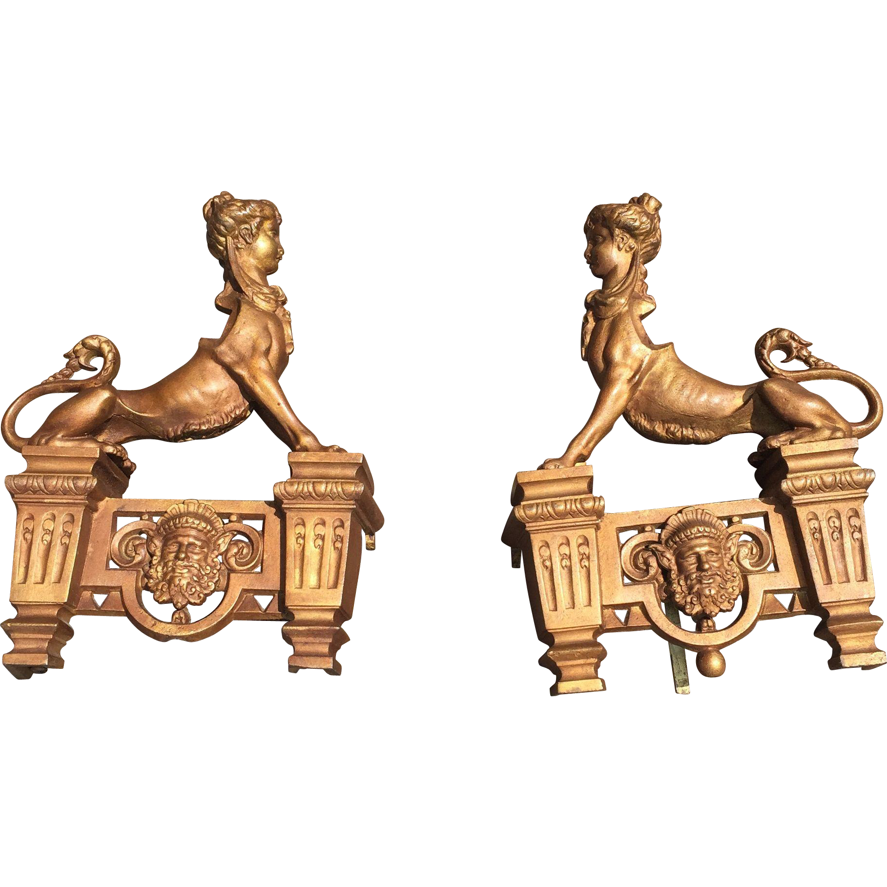 Early 1900 Pair Decorative Fireplace Sphinx Andirons