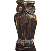 Sold to Lori -- Black Forest Carved in Wood Owl Letter Opener , Paper Knife , Desk