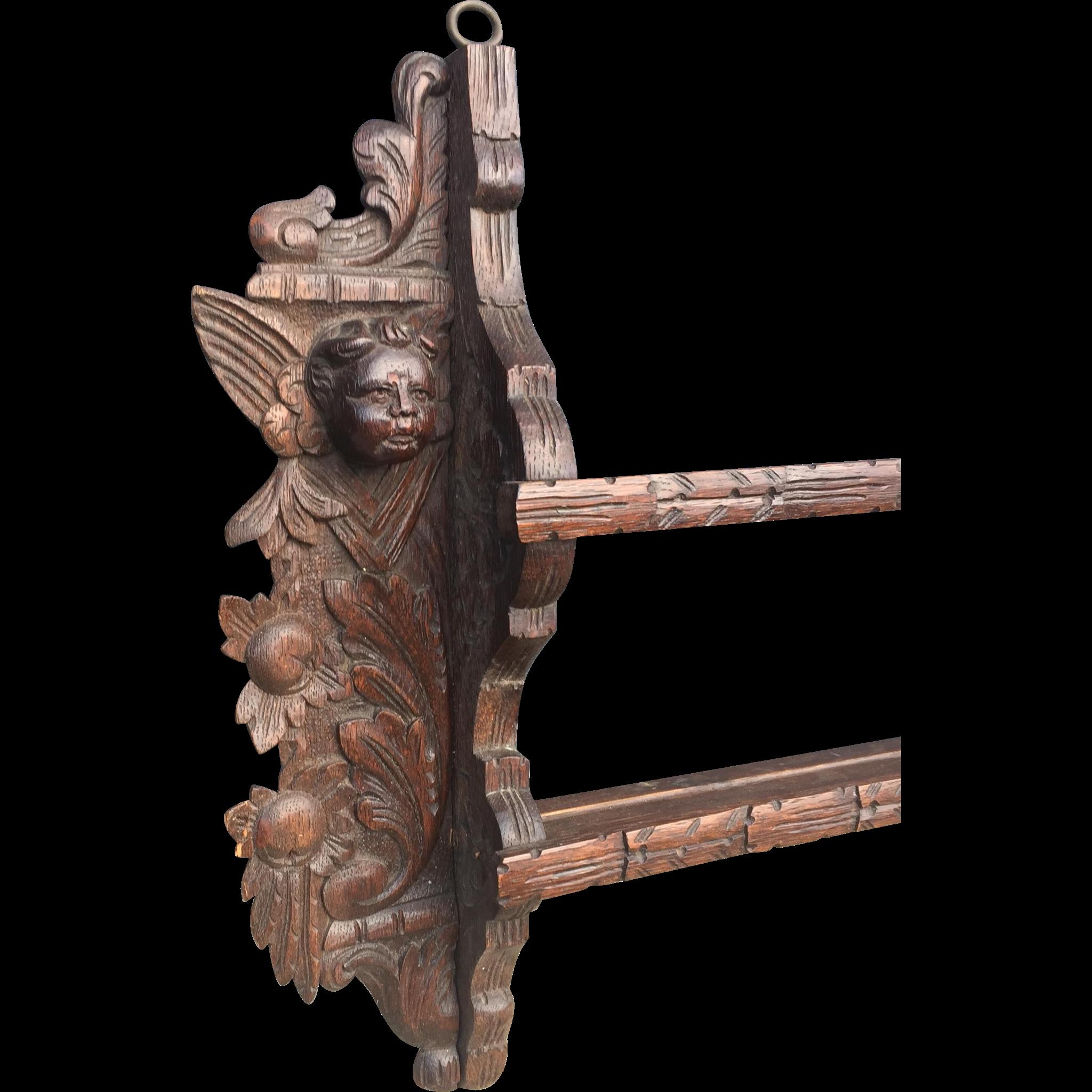 Oak Wood Putti - Angel Wall Display - Plate Rack