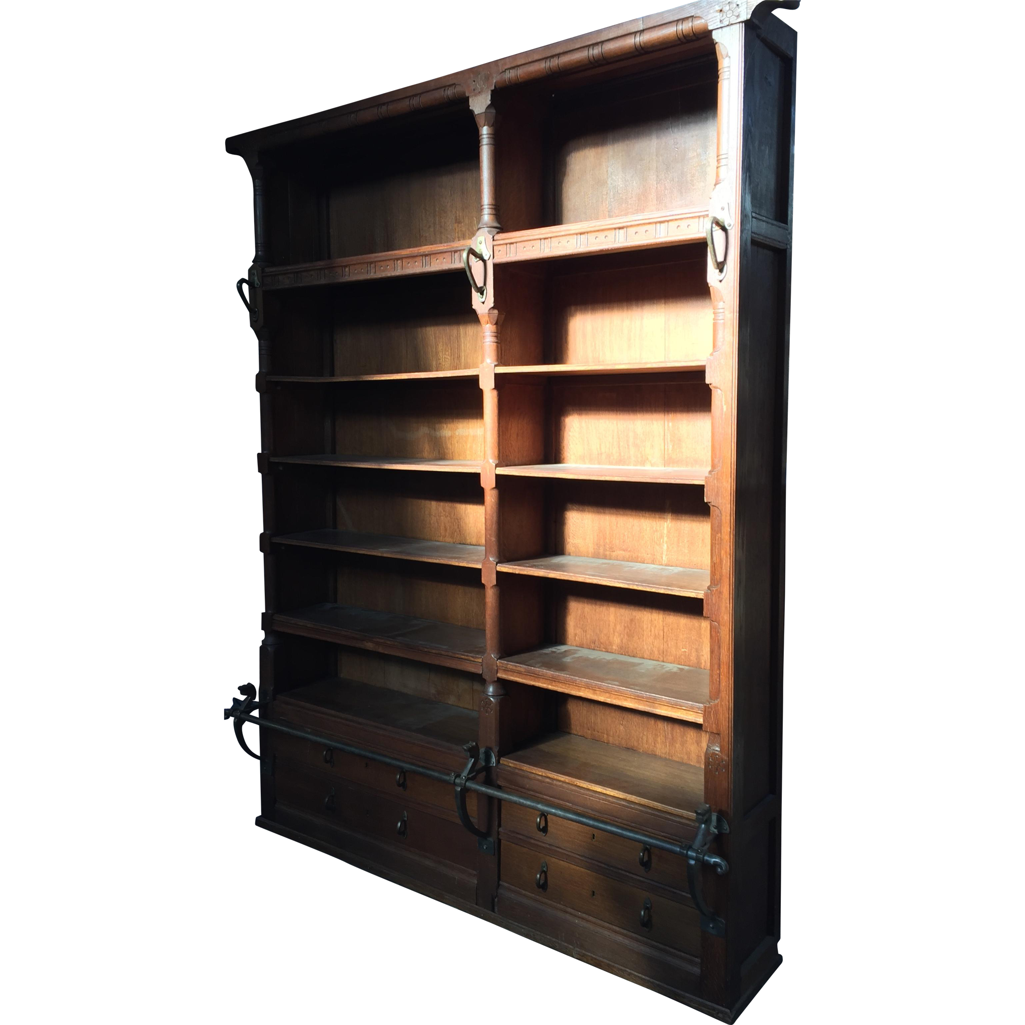 Ca large oak wood bookcase with iron step rod from