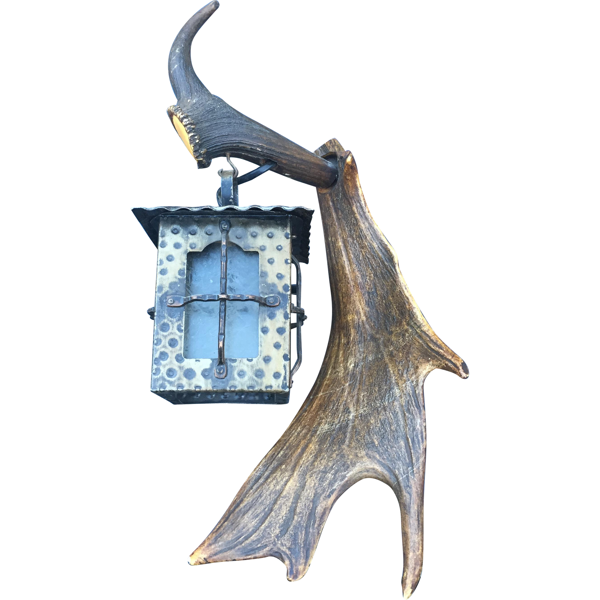 Antler Hunting Art 1-light Wall Sconce - Plaque - Lantern