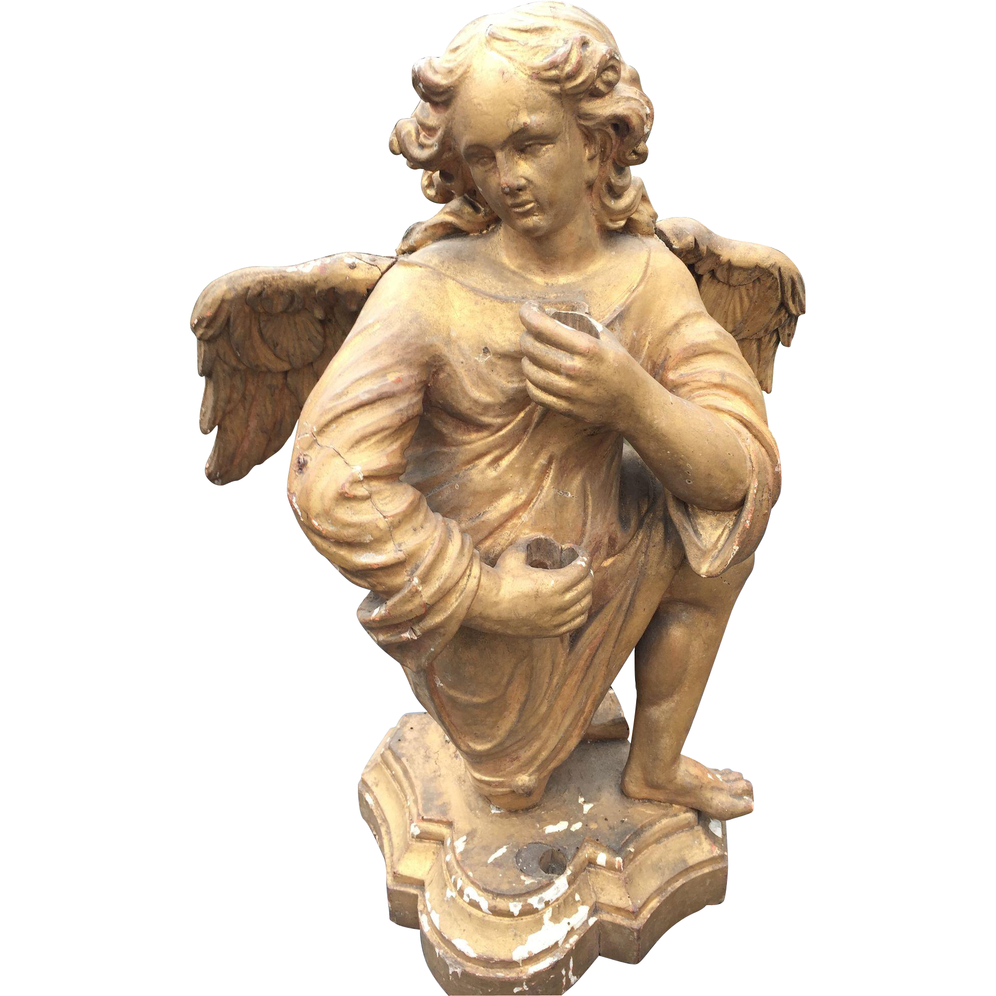 18 Century Carved Gilt Wood Winged Angel on Base - Candle Stand - Statue