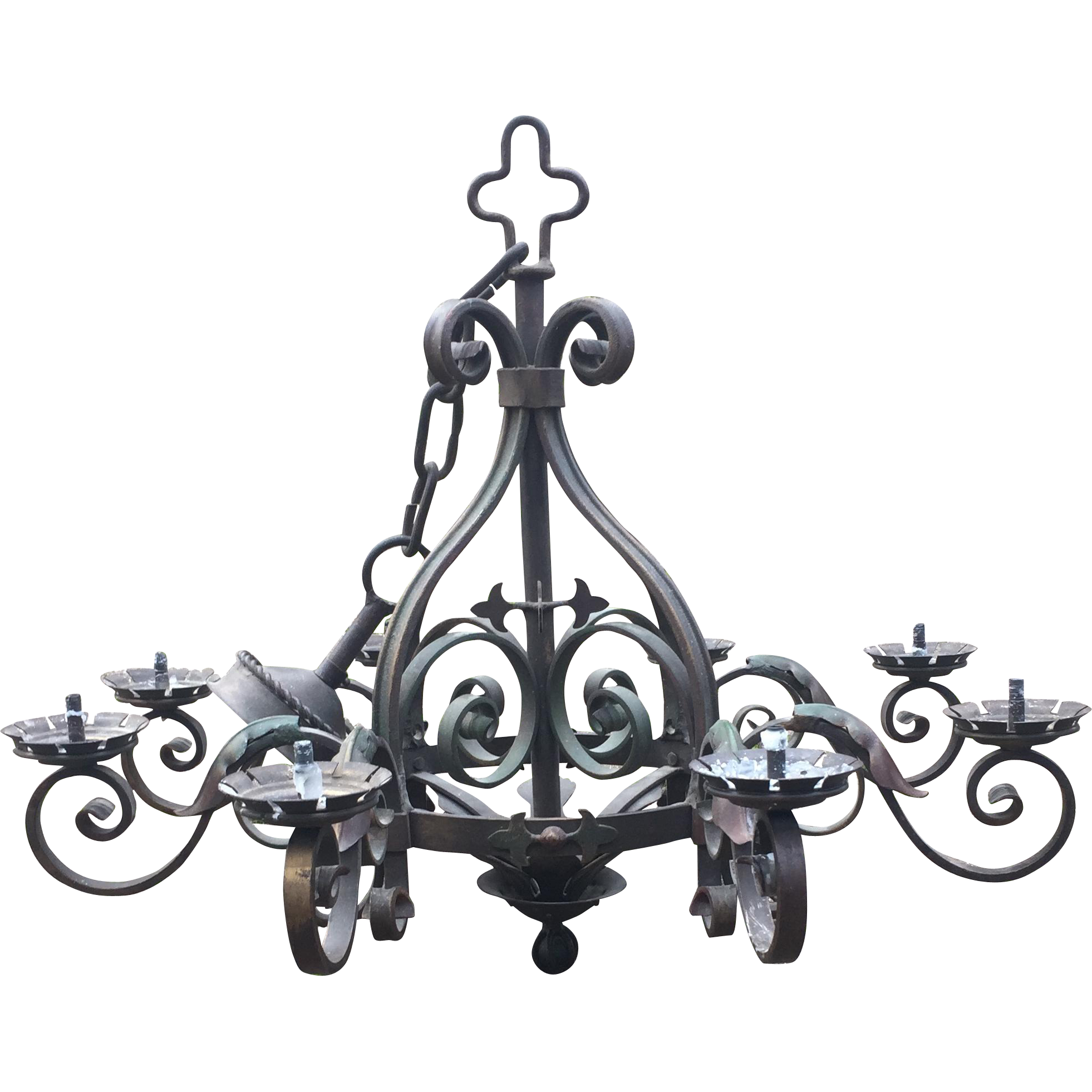 french rustic wrought iron art 8 light castle chandelier from europeantiqueshop on ruby lane. Black Bedroom Furniture Sets. Home Design Ideas