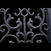 Vintage Wrought Iron Art Entry Door w. Dragon - Bird Design