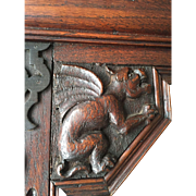 Carved Oakwood Gothic Art Mirror with Gargoyle