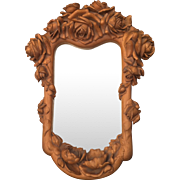 Amazing Carved Wood Art Mirror with Roses - Flowery Design