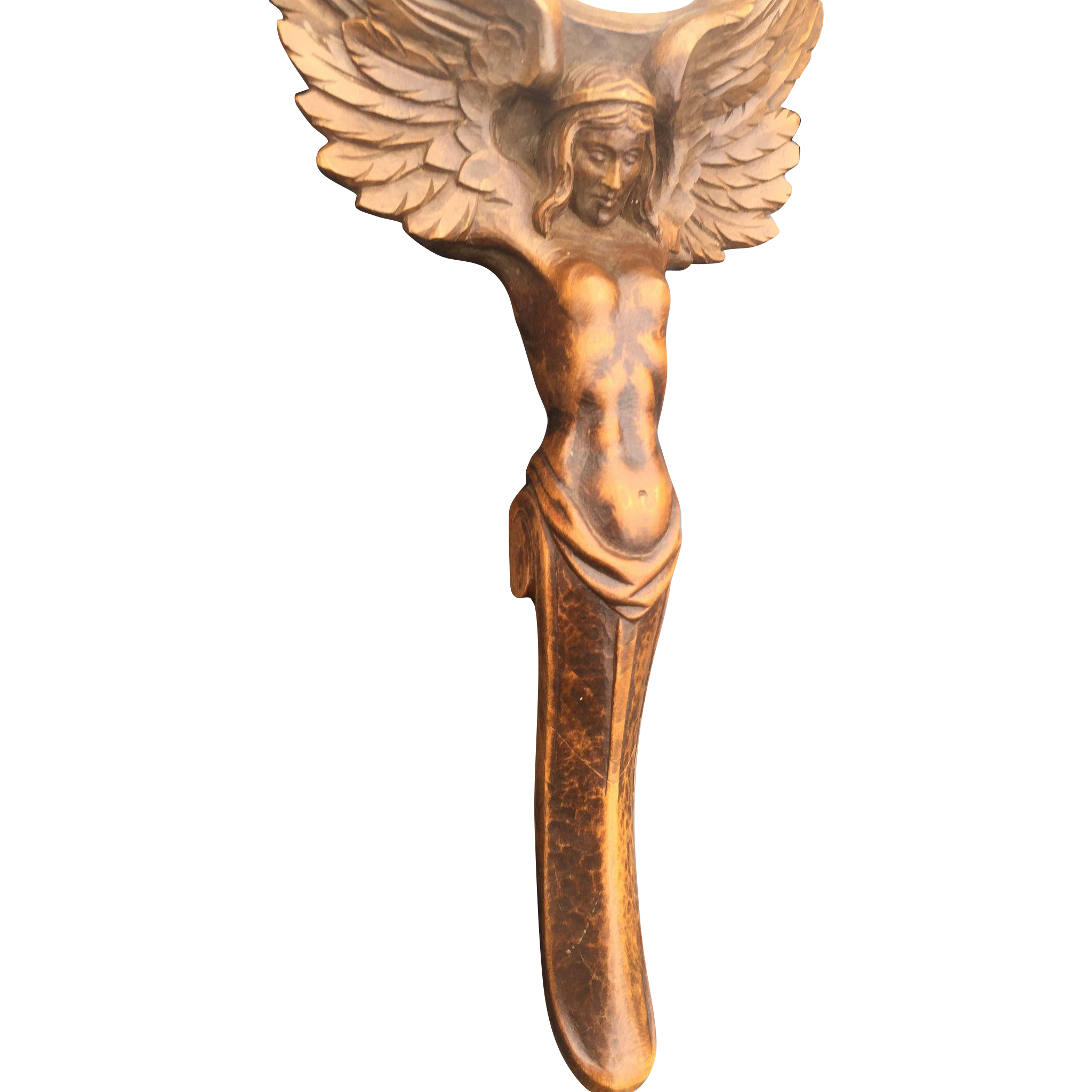 Winged Nude - Female - Carved Wood Hand Mirror, Figure