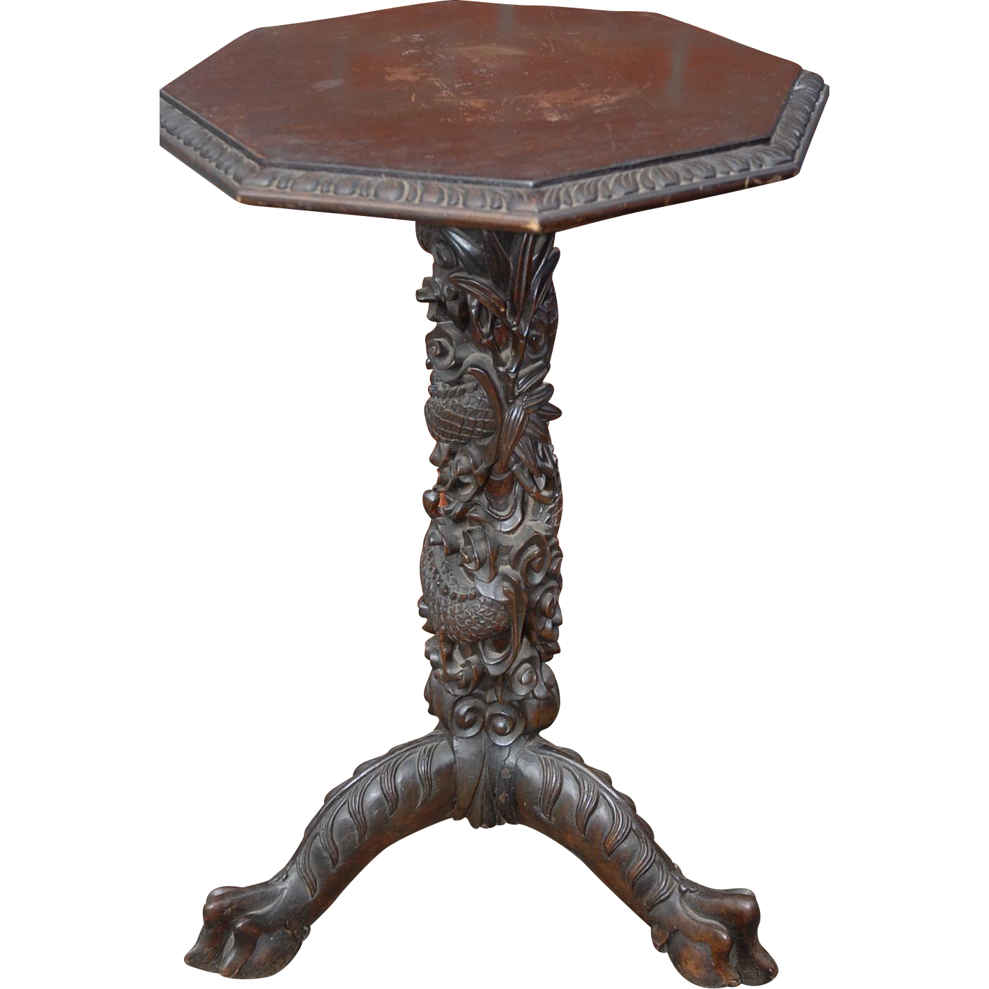 Pedestal Plant Stands ~ Antique asian carved wood dragon table pedestal base