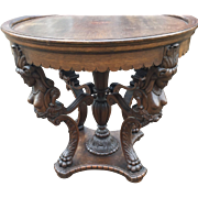 Stunning Carved in Wood Table with Female - Satyrs - Fauns