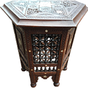 Turkish Carved Wood Moorish Table - Stand - Pedestal