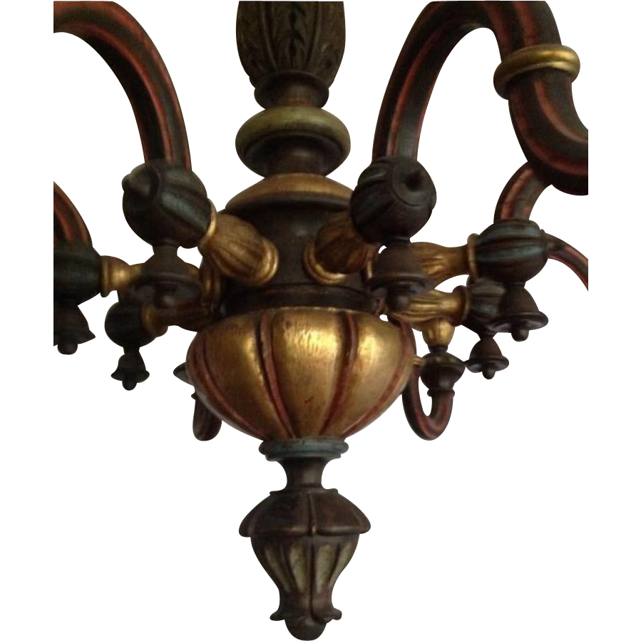 Circa 1900 Italian Carved Painted Wood Chandelier