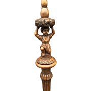 Figural - Flowery Carved Wood Floor Lamp