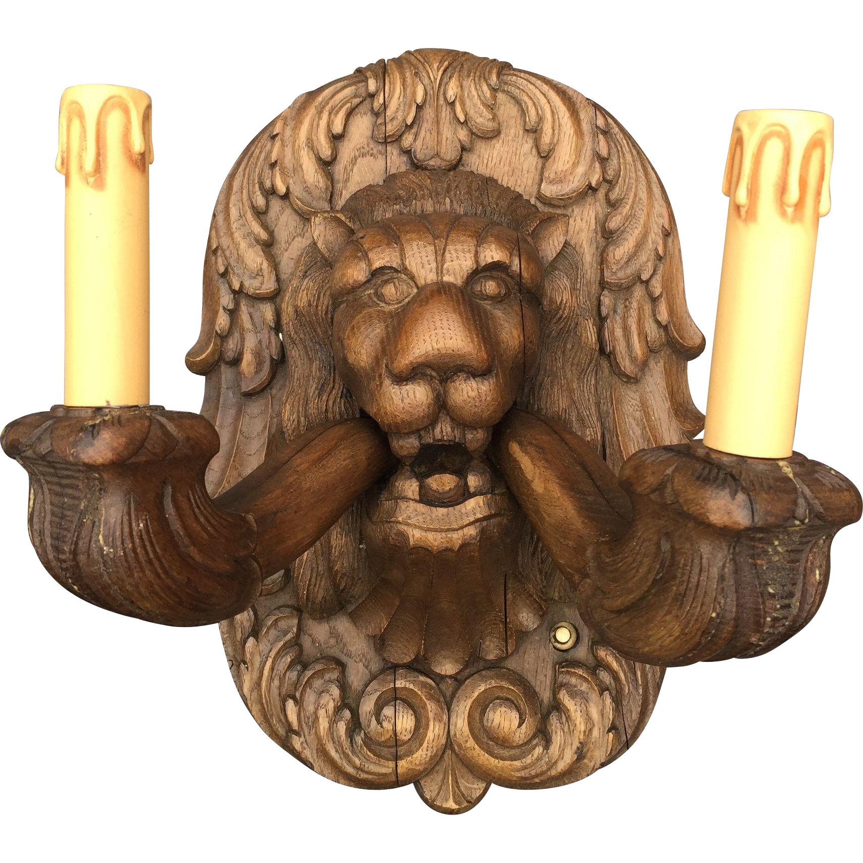 Early 1900 Pair Lion Wooden Wall Plaque Sconces