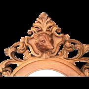 18th Century Wooden Hunting Fox Head Mirror