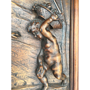 Large Wooden Detail Cherubs Scene Wall Panel, Grape Harvest