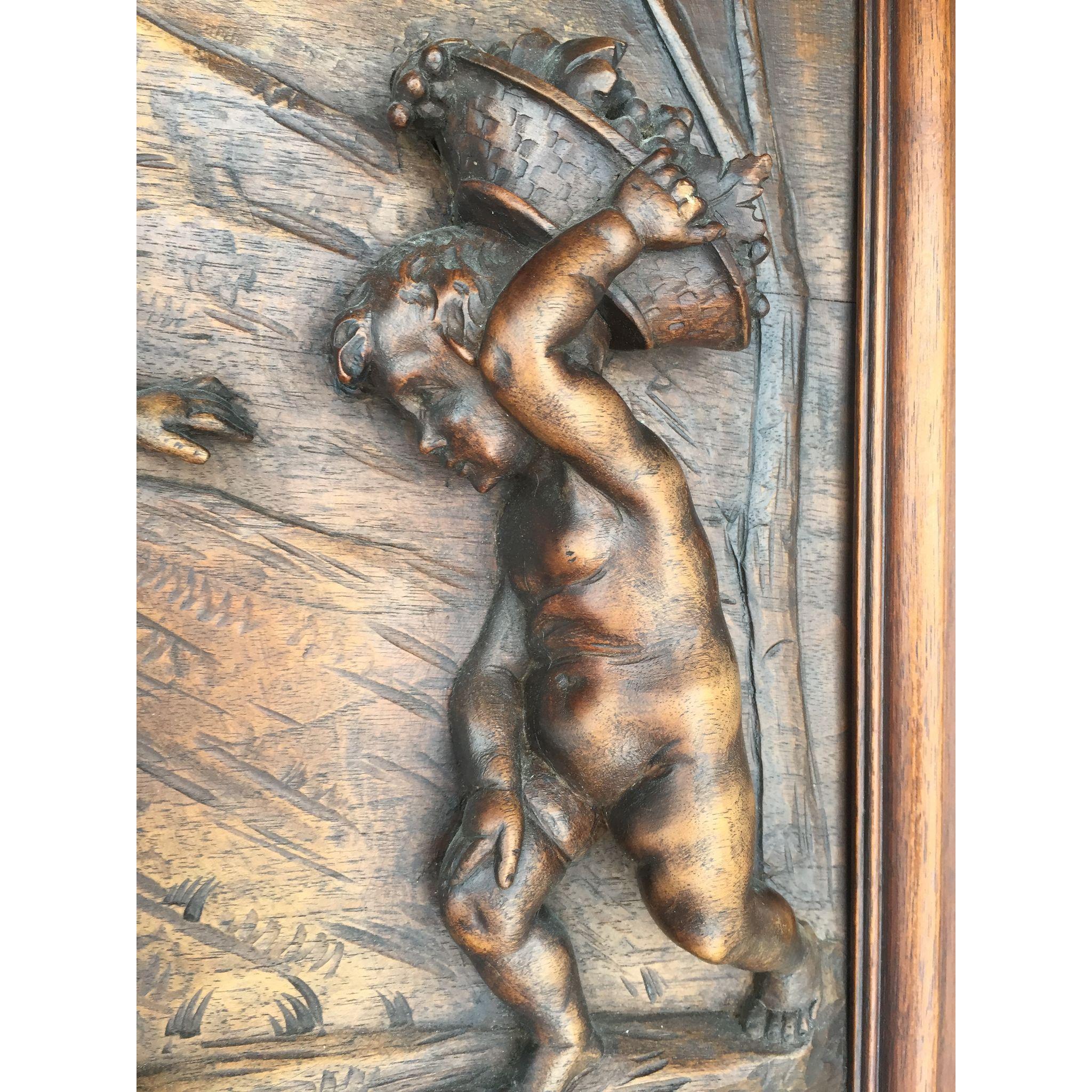 Large Wooden Detail Cherubs Scene Wall Panel, Grape Harvest