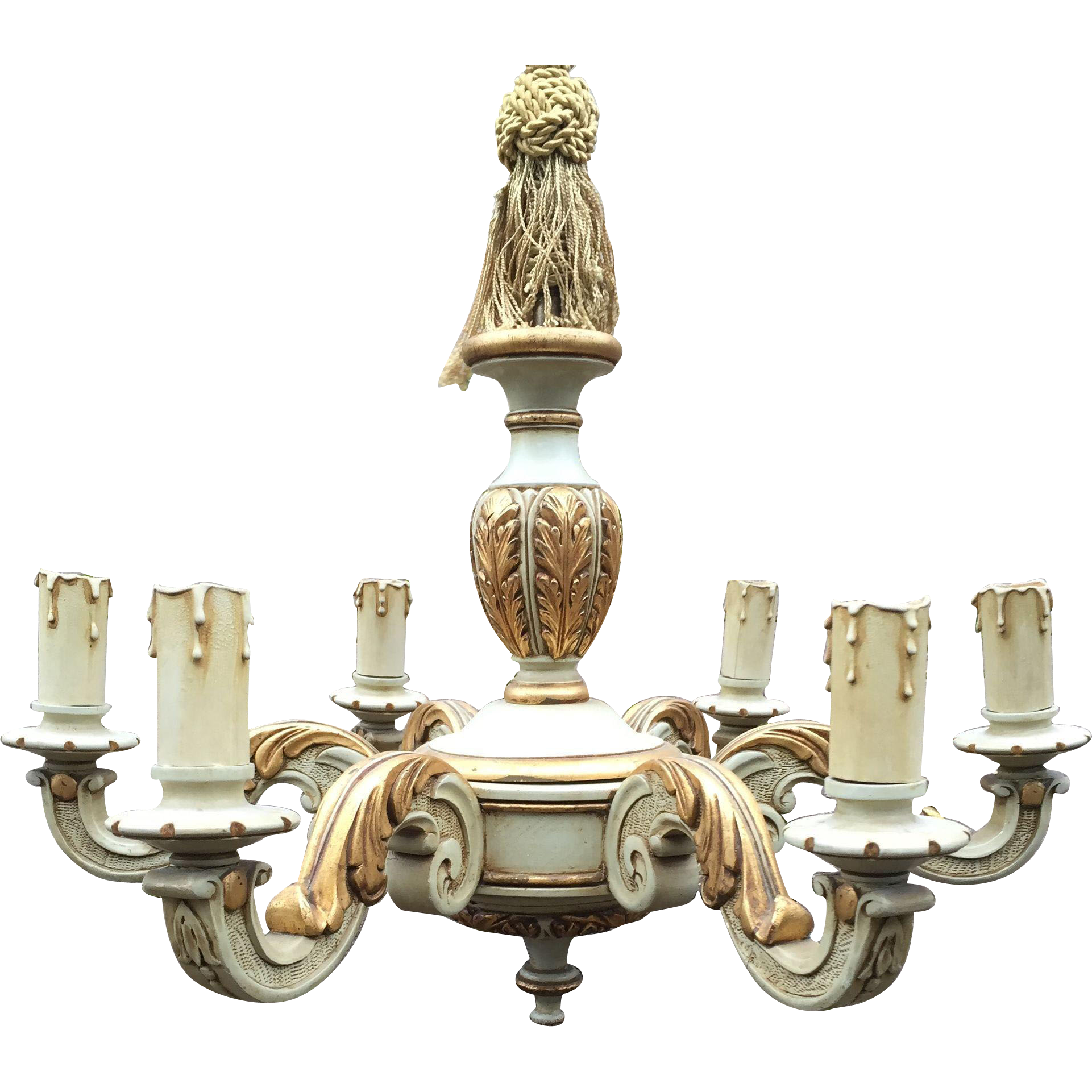 Vintage Carved - Painted Wood 5 light Chandelier