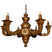 French Gilt Carved Wood 6 light Chandelier