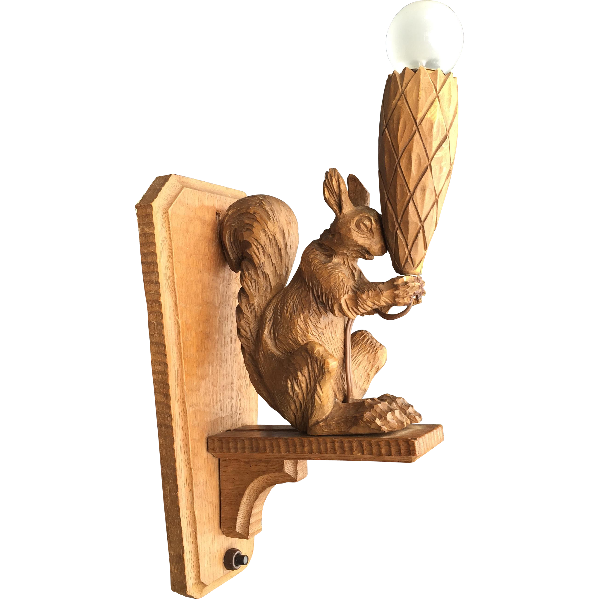 Vintage Wooden Wall Sconce with Squirrel