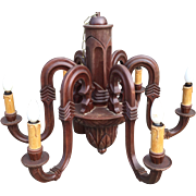 Early 1900 Arts & Crafts - New Art Wooden Chandelier