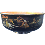 Antique Chinoiserie Paper Mache Lacquer Bowl
