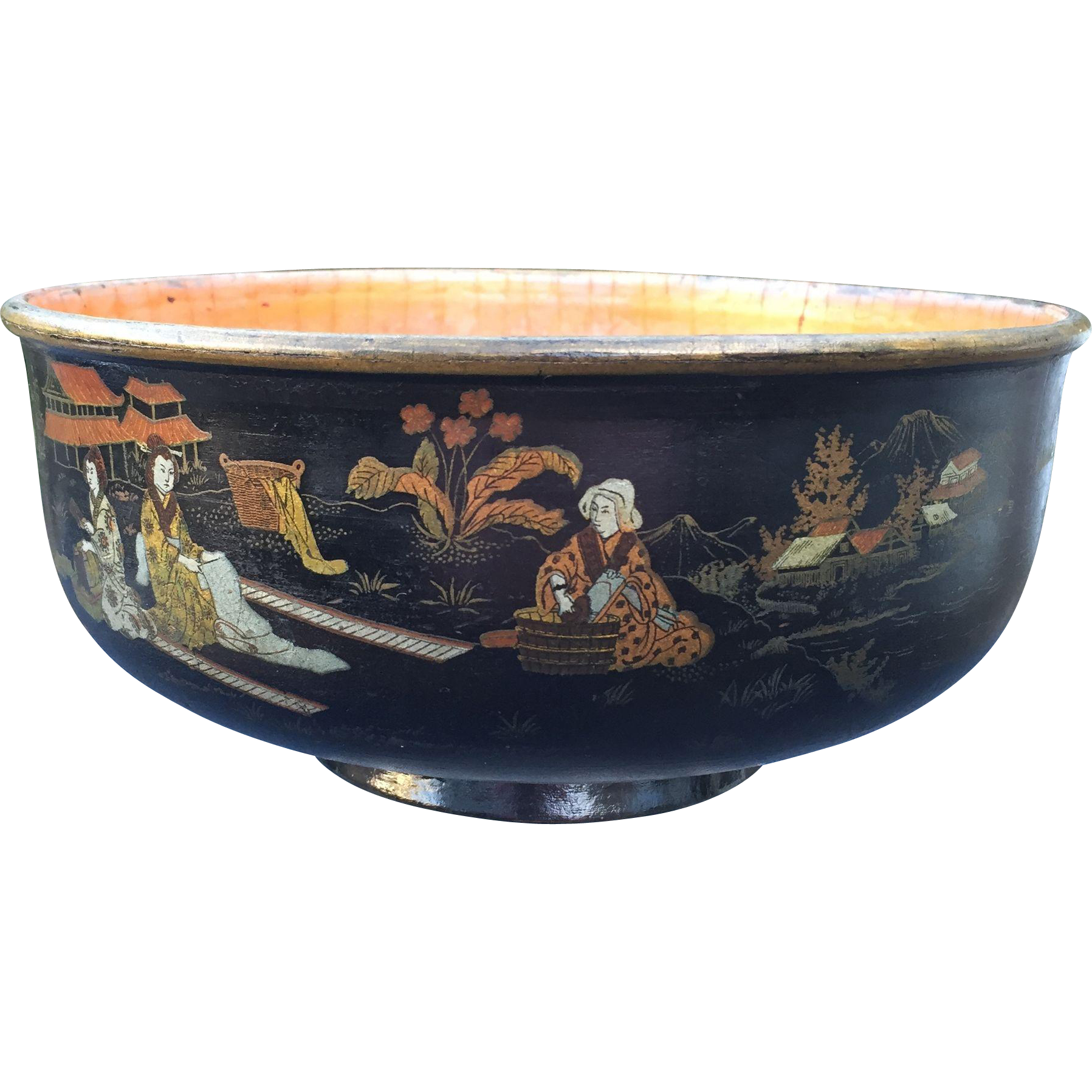 Antique Chinoiserie Paper Mache Lacquer Bowl