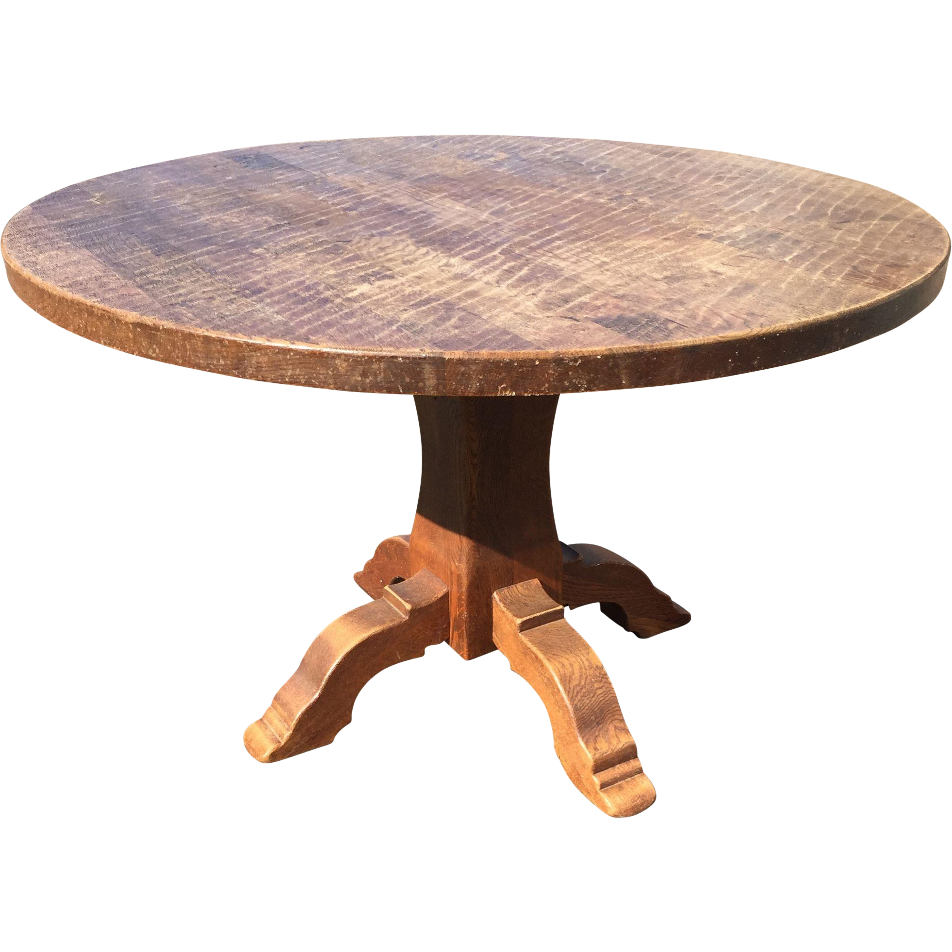 Round Wood Table ~ Vintage french rustic oak wood round table europe