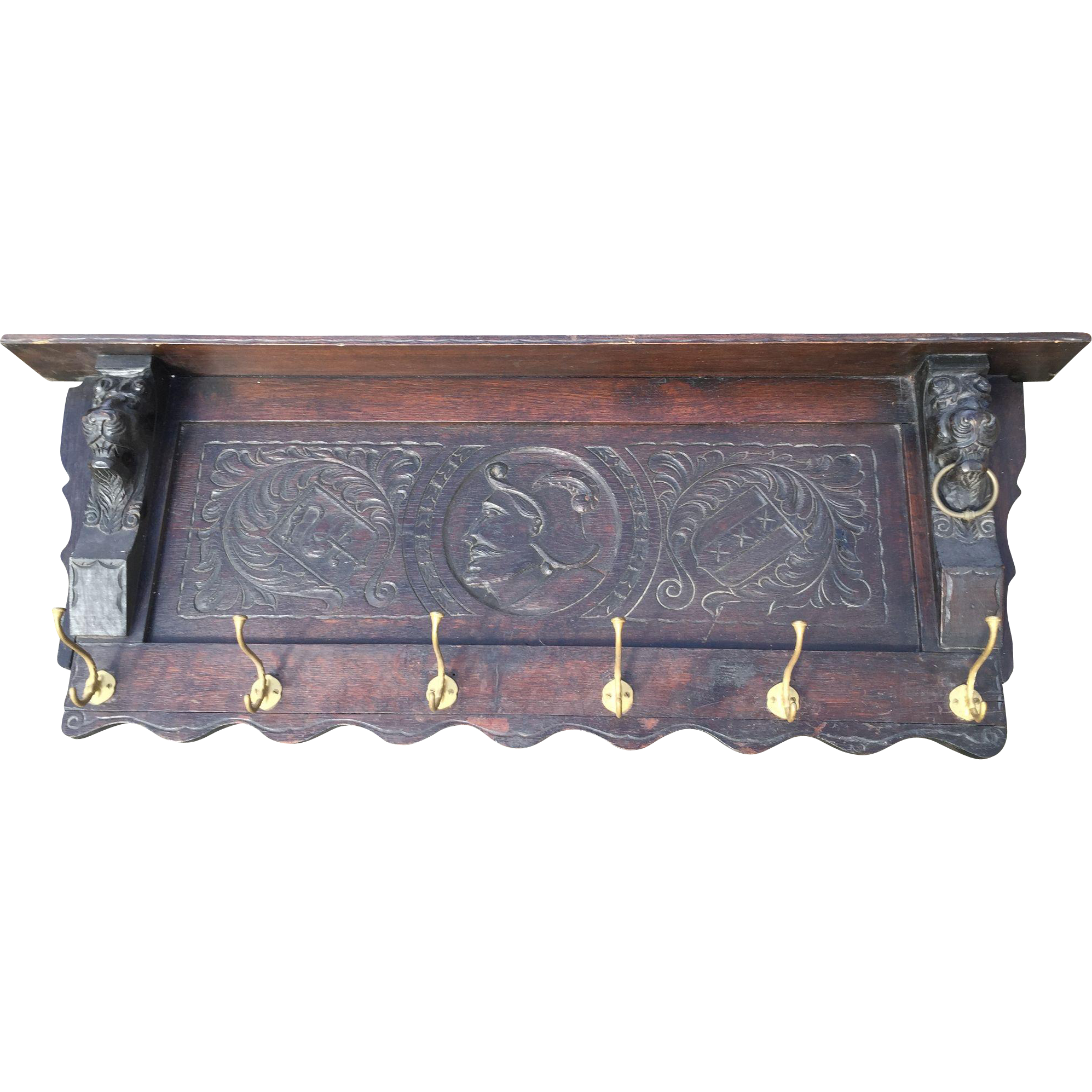 Spanish Antique Hand Carved Wood Wall Coat