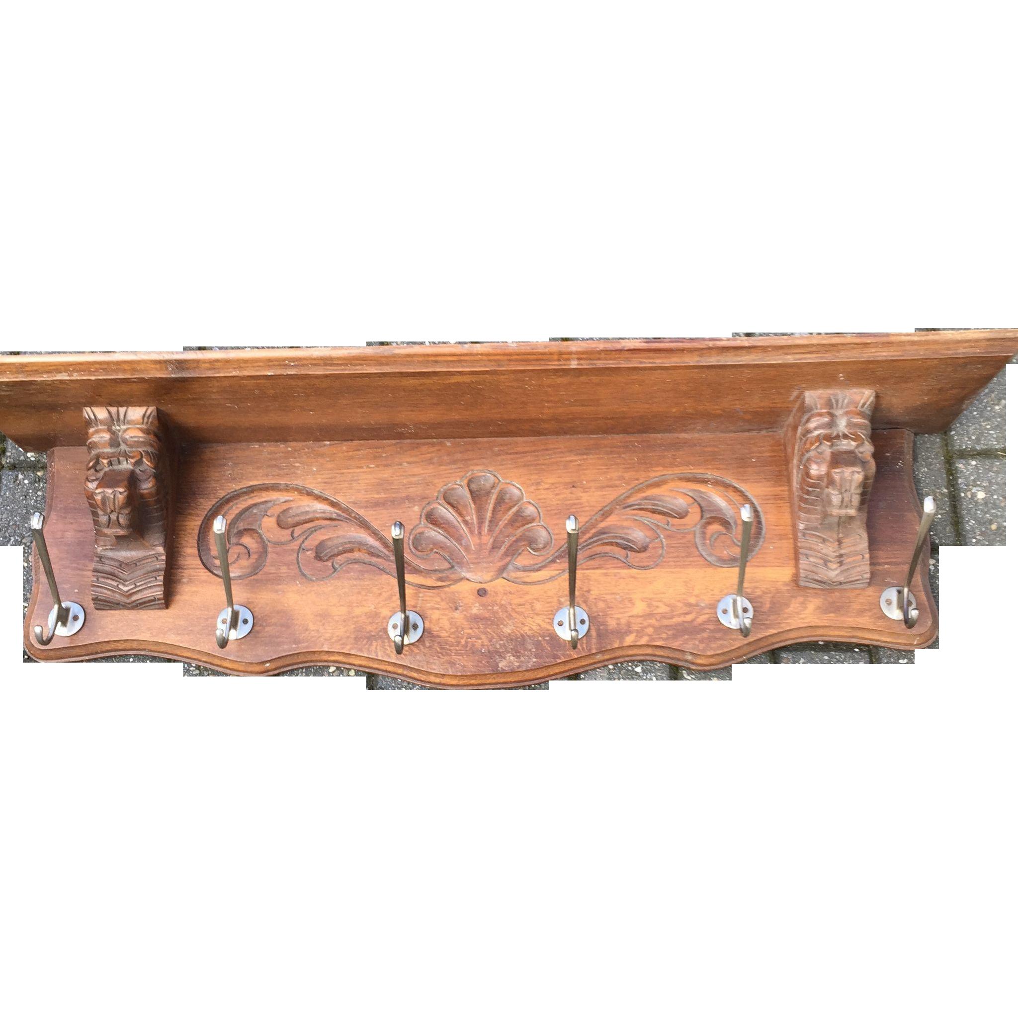 Vintage Hand Wooden Lion Coat Rack