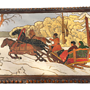 Large Vintage Russian Crafted Painted Box