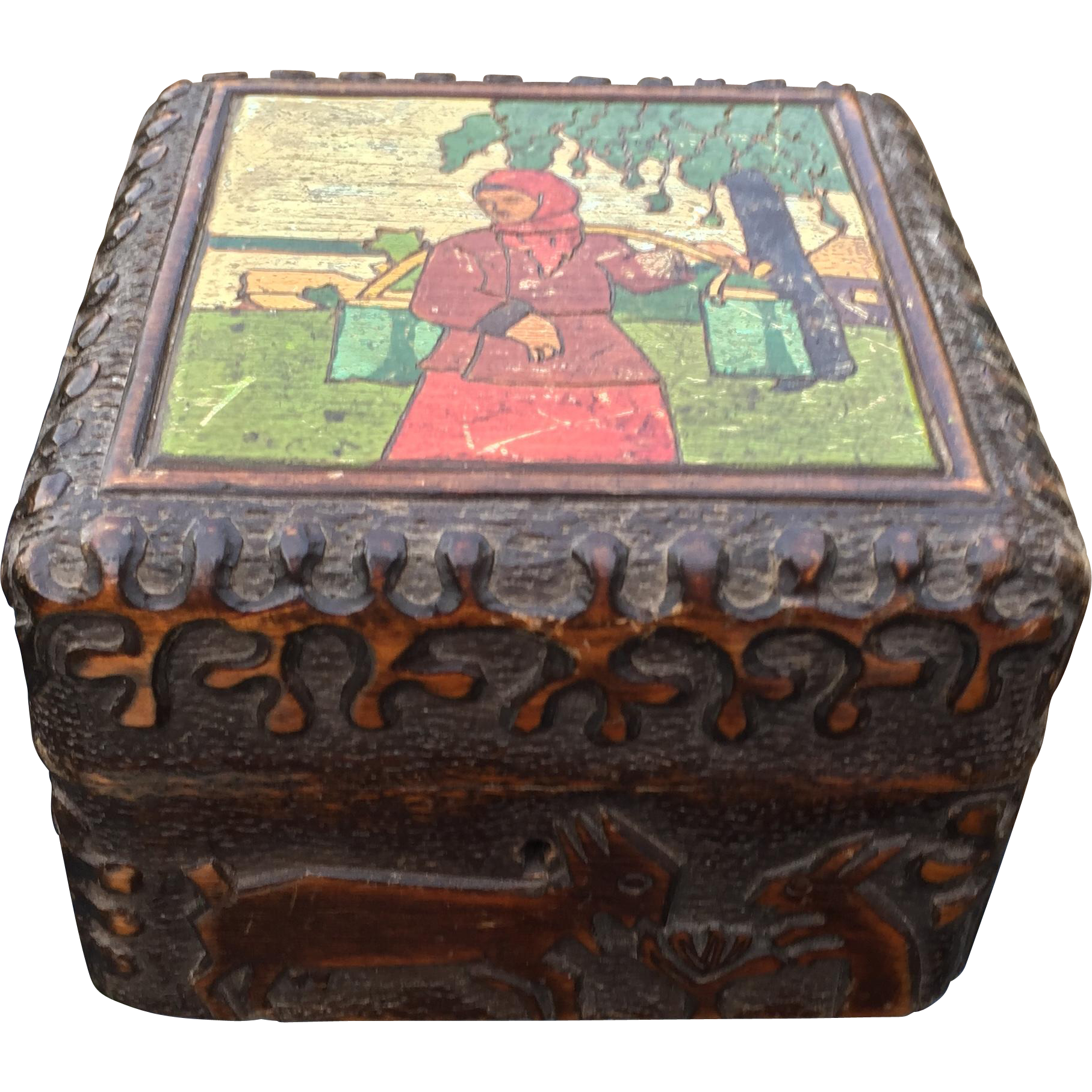 Vintage Russian Painted - Shaped Wooden Box