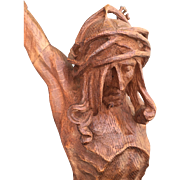 Art Nouveau Finest Carved Wood Art Crucifix