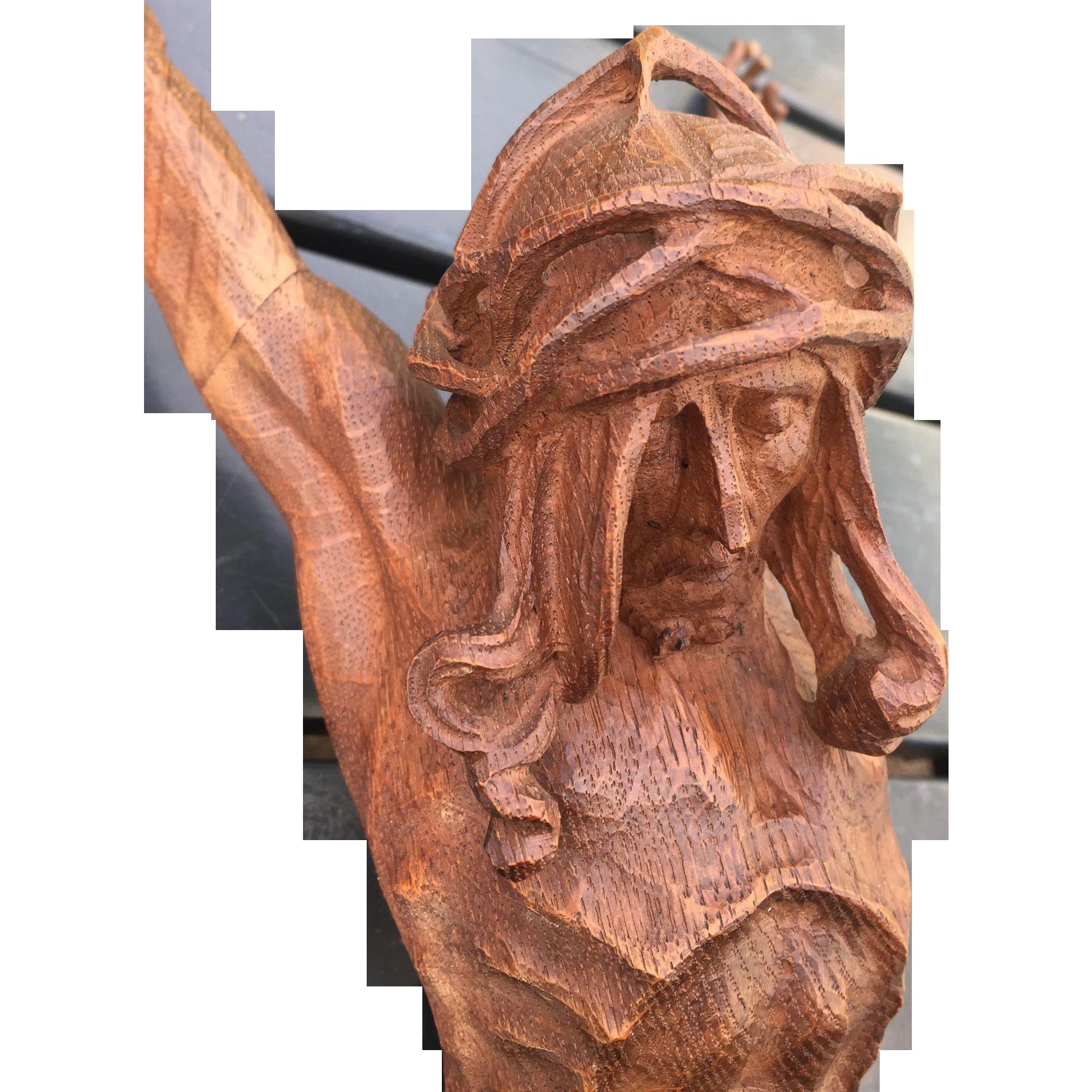 Art Nouveau Finest Carved Wood Art Crucifix