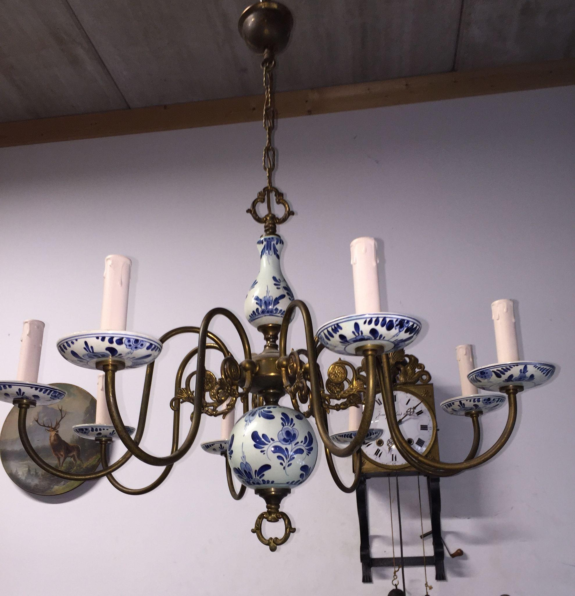 Blue and white delft chandelier chandelier gallery another blue delft chandelier lighting mozeypictures Gallery