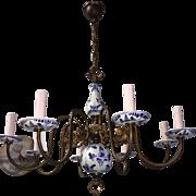 Vintage Brass Porcelain Delft Blue Chandelier