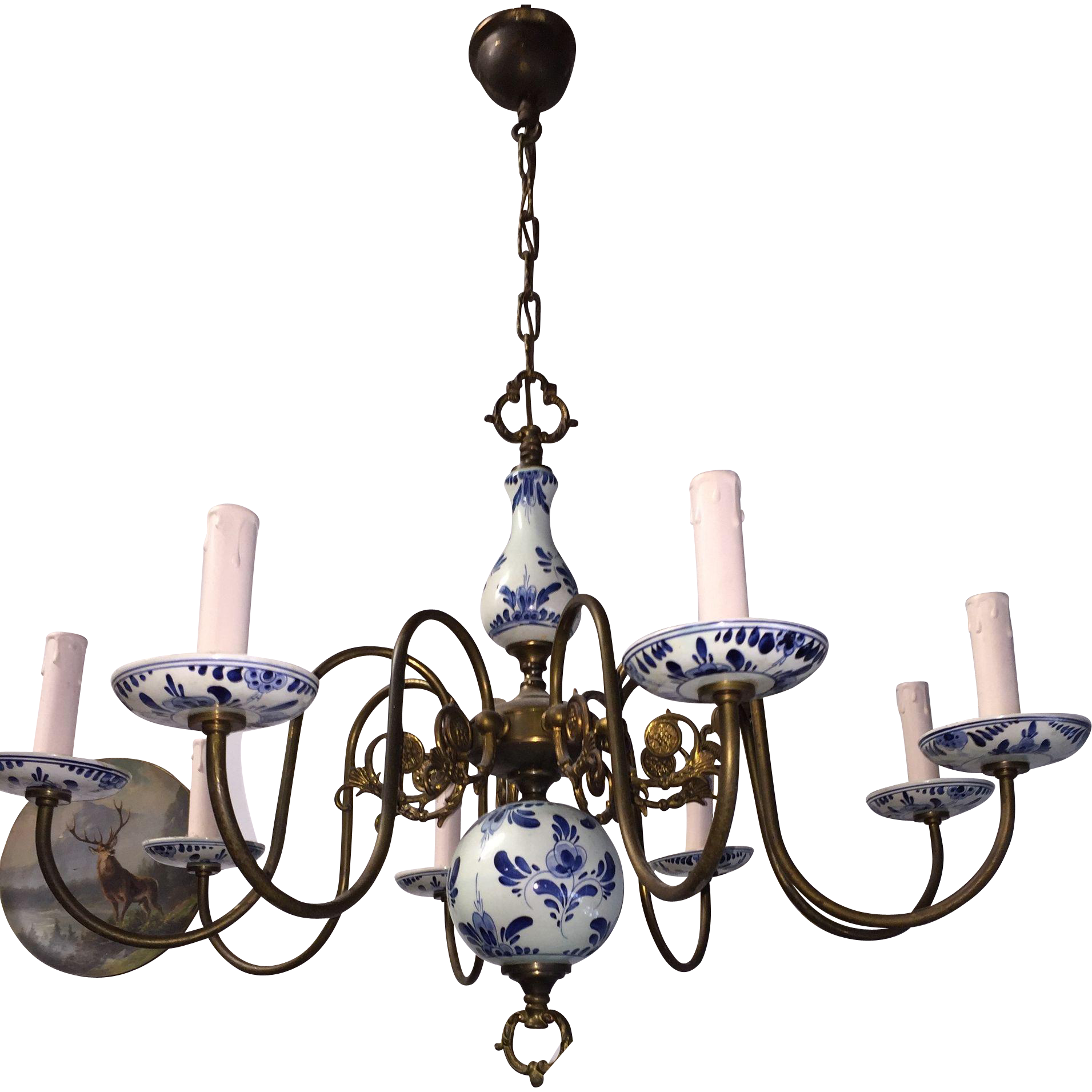 Sold to els vintage brass porcelain delft blue chandelier sold to els vintage brass porcelain delft blue chandelier europe antiques collectibles and decorations shop ruby lane mozeypictures Gallery
