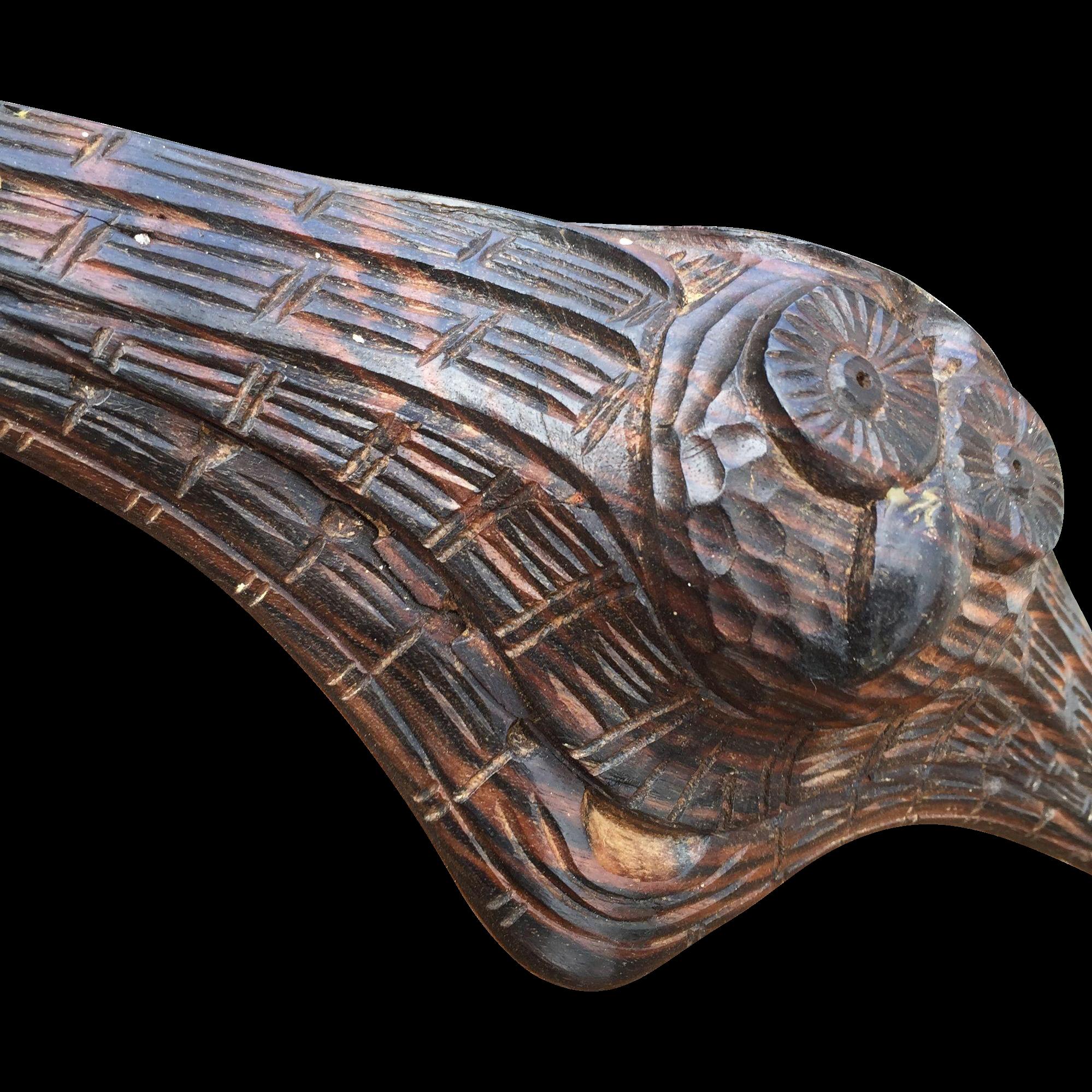 Art Deco Coat Rack w. Macassar Wood Owl Sculpture