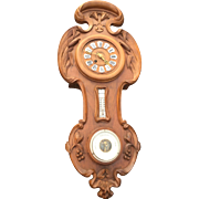 French Art Nouveau Wooden Wall Clock, Louis Majorell