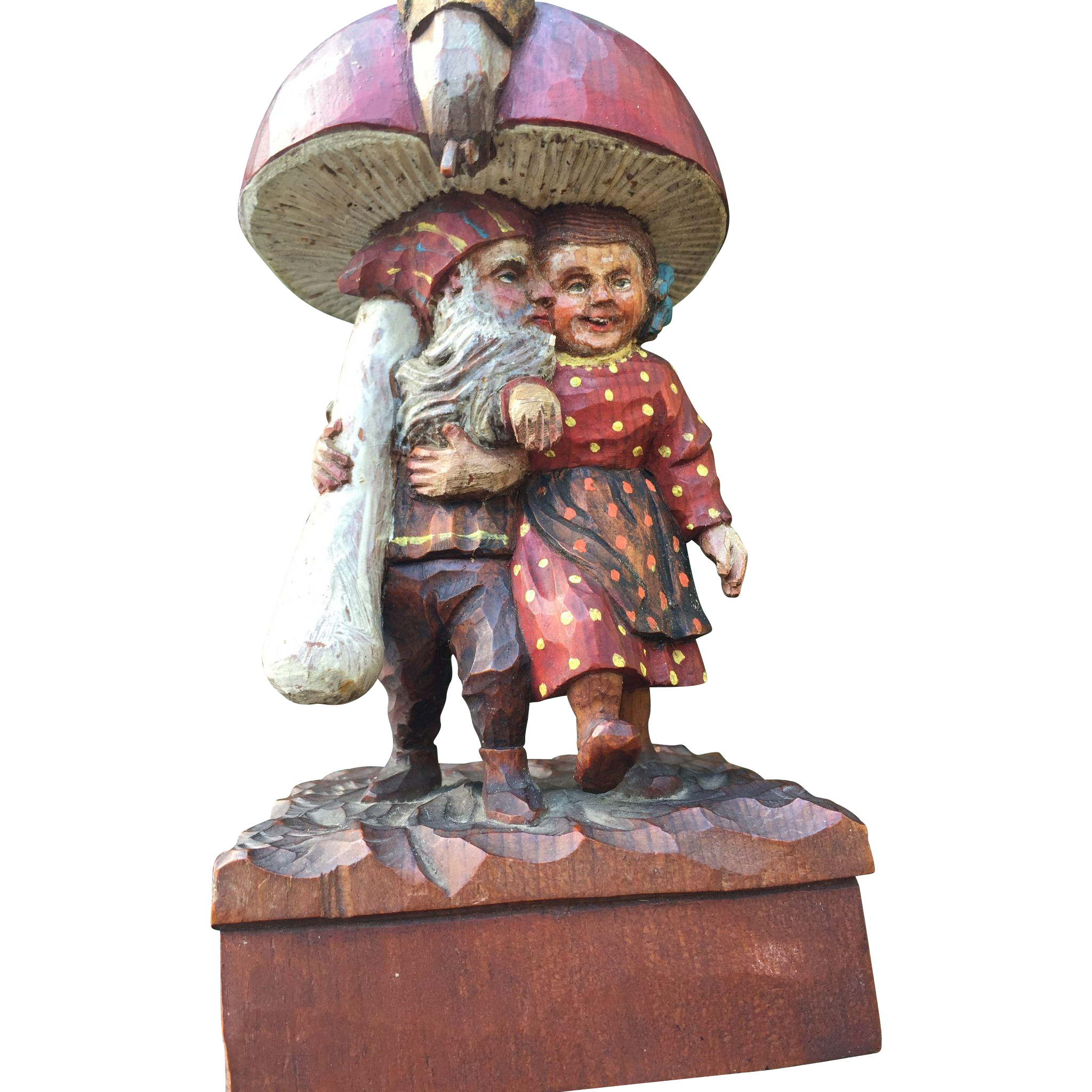 Black Forest Gnome Love Pair Kissing under a Mushroom