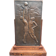 Art Deco Bronze Sports Olympic Plaque Award Table Piece