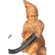 Antique Black Forest Gnome - Whip Hook